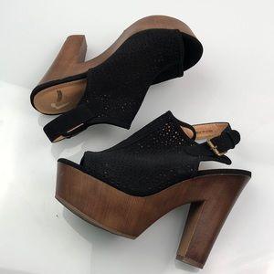 Report Black Suede Open Toe Wooden Platform